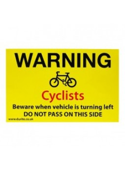 Warning Cyclists Safety Sign - Landscape