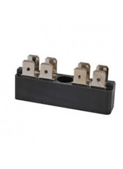 2 x 4-Way Bus Bar with 6.3mm Common Plated Brass Blade Terminals - 25A
