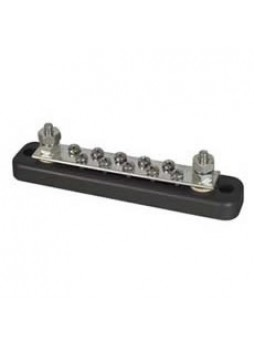 "10-Screw Tin-Plated Copper Bus Bar with 2 x 3/16"" UNF Studs - 150A"