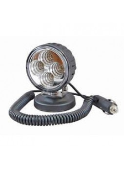 4 x 3W LED Work Lamp with Magnetic Base and 2.5m Retractable Lead - Black, 12/24V, IP67