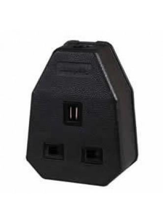 13A 1 Way Black Rubber Socket